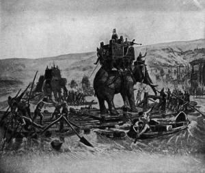 Pasukan gajah Hannibal melintas roma
