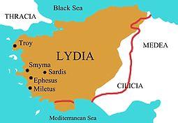 Peta periode akhir Kekaisaran Lydia di bawah Kroisos, abad ke-6 SM.
