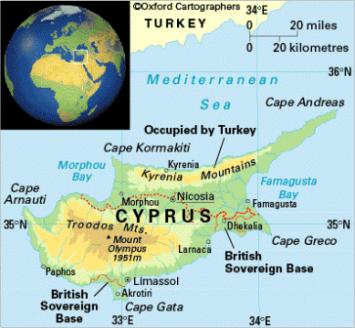 Peta kerajaan-kerajaan kuno di Siprus