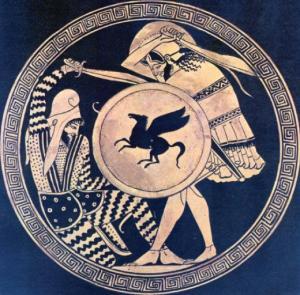 Penggambaran pertarungan hoplites Yunani melawan prajurit Persia, pada kylix dari abad ke-5 SM.